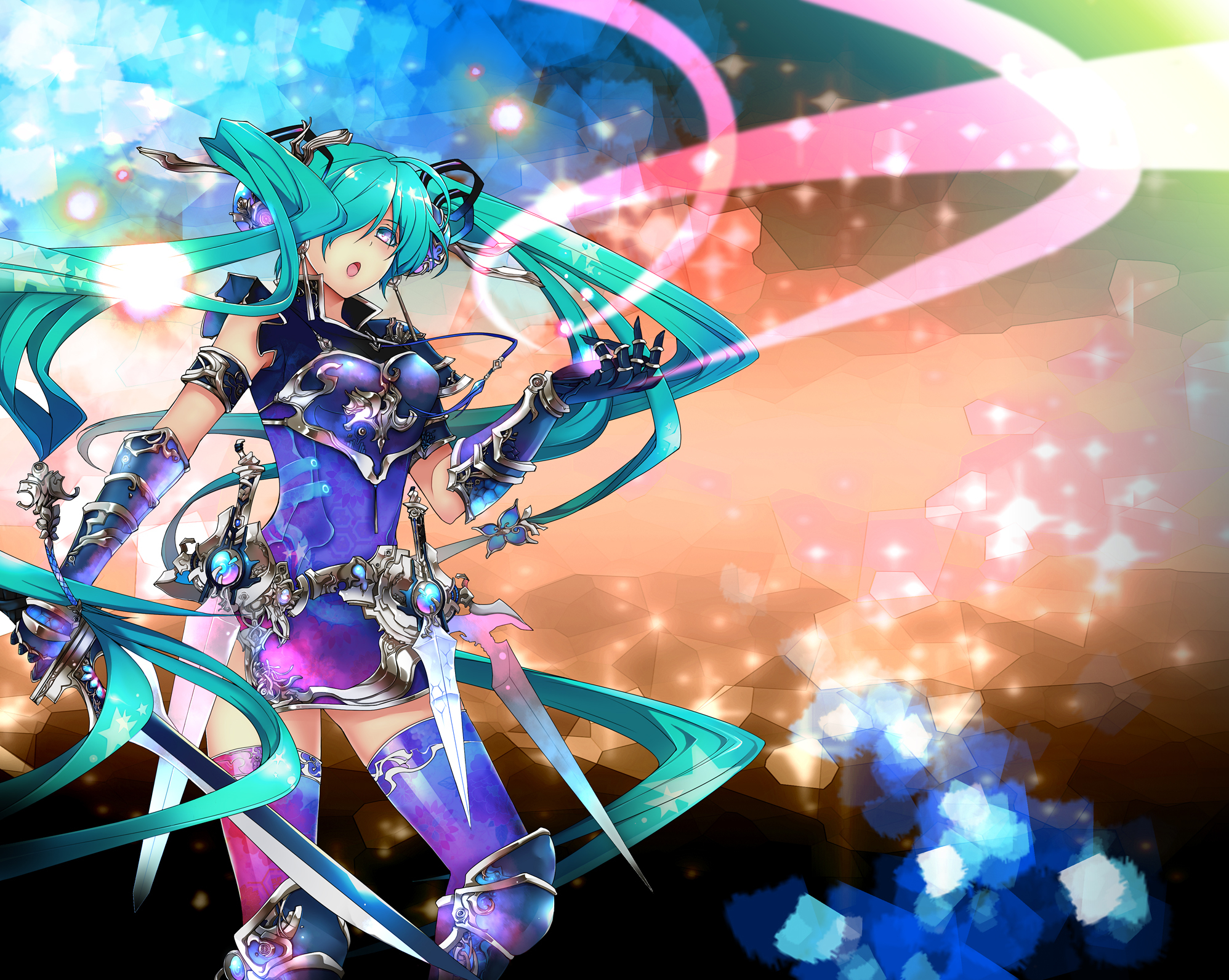 armor ene0 hatsune_miku sword twintails vocaloid weapon