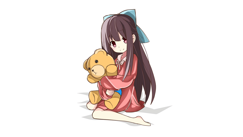 barefoot loli long_hair ribbons rin_(shelter) shelter teddy_bear third-party_edit vanna white