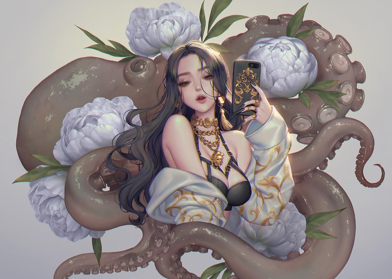 animal black_eyes black_hair breasts cleavage cropped flowers gray hoodie long_hair love_cacao necklace original phone tentacles