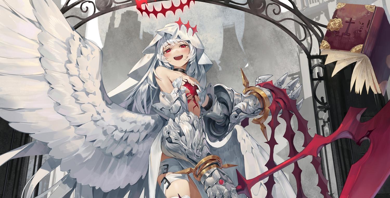 armor blush dress garter gray_hair halo headdress ji_dao_ji long_hair original red_eyes scythe weapon wings