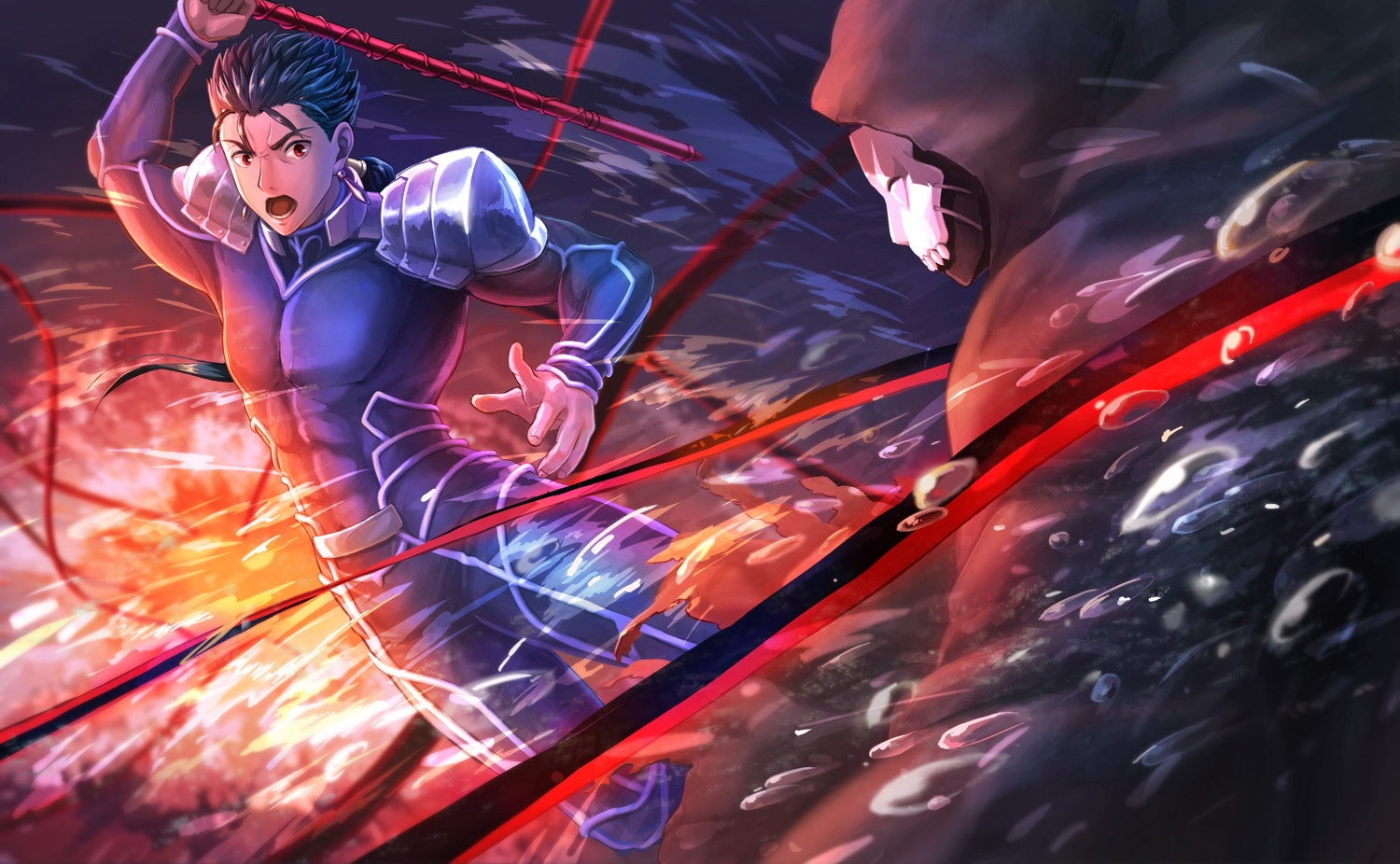 all_male black_hair bodysuit cu_chulainn fate_(series) fate/stay_night male red_eyes short_hair spear suikatabetaifrom true_assassin weapon