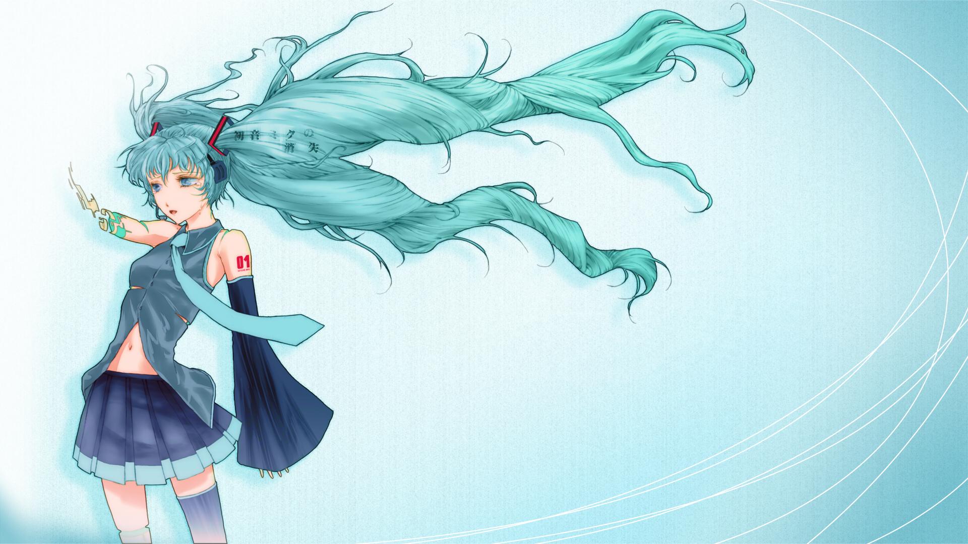 aqua_eyes aqua_hair choco_an hatsune_miku headphones thighhighs tie twintails vocaloid