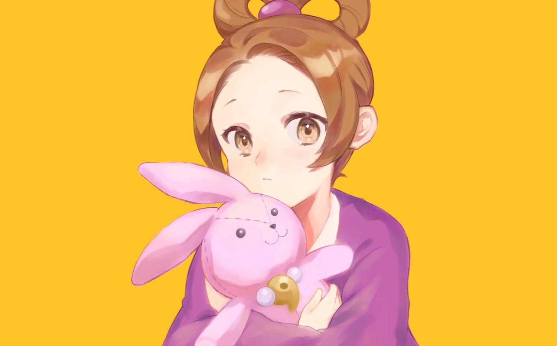 ayasato_harumi brown_eyes brown_hair bunny close gyakuten_saiban japanese_clothes kimono orange rin_(yukameiko) short_hair third-party_edit