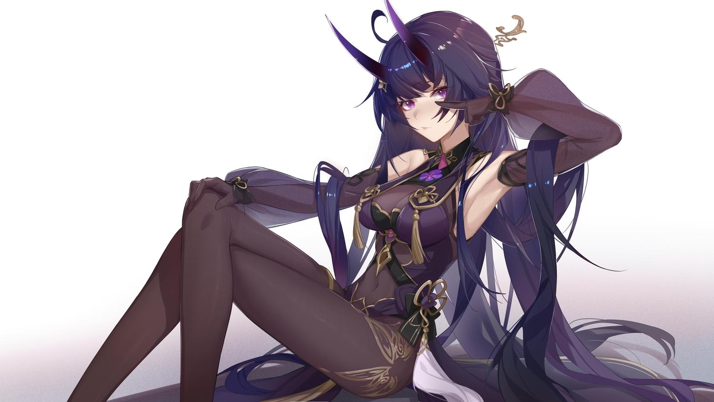 gloves honkai_impact horns long_hair purple_eyes raiden_mei xianyu_liang