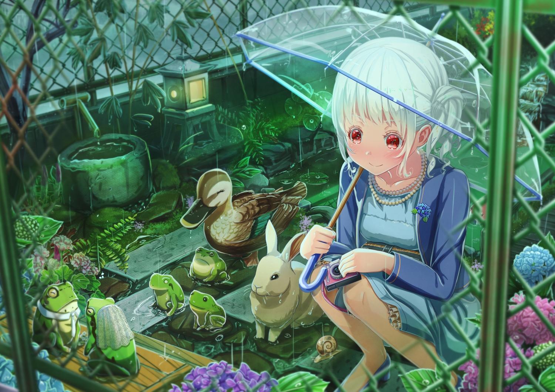 abo_(kawatasyunnnosukesabu) animal bird camera duck flowers frog original rabbit rain red_eyes umbrella water wedding white_hair