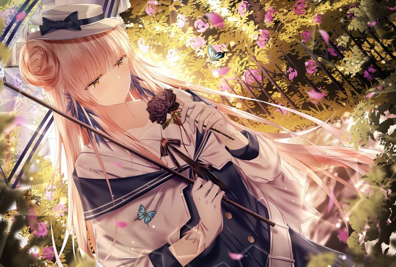 arknights bow butterfly ceylon_(arknights) flowers gloves hat junpaku_karen long_hair umbrella yellow_eyes