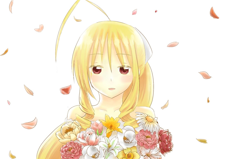 blonde_hair flowers hayate_no_gotoku long_hair mizuki.n petals red_eyes tennos_athena white