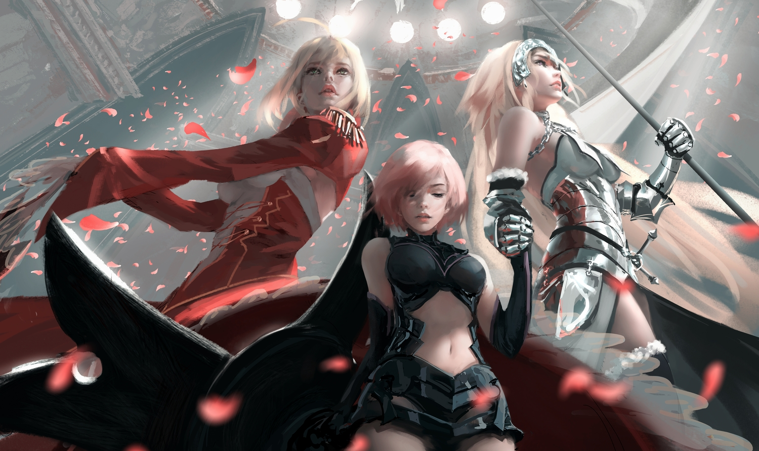 blonde_hair breasts chain dress elbow_gloves fate/extra fate/grand_order fate_(series) gloves green_eyes headdress jeanne_d'arc_(fate) mash_kyrielight navel nero_claudius_(fate) purple_eyes short_hair wlop