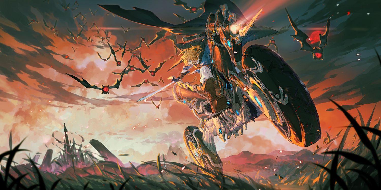 all_male animal arsh_(thestarwish) blonde_hair clouds grass link_(zelda) male motorcycle sword the_legend_of_zelda weapon