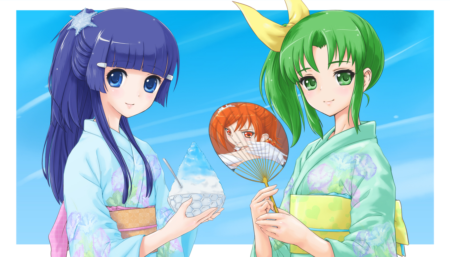 2girls aoki_reika blue_eyes blue_hair cure_sunny fan green_eyes green_hair hino_akane japanese_clothes kimono long_hair ponytail precure rasukaru short_hair smile_precure!
