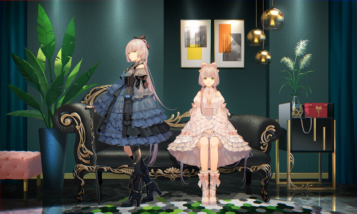 2girls couch goth-loli gray_hair green_eyes lolita_fashion long_hair reflection tagme_(character) tidsean twintails vocaloid vsinger