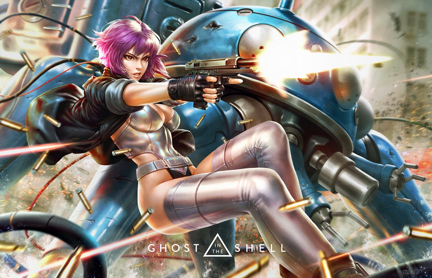bodysuit breasts derrick_chew ghost_in_the_shell ghost_in_the_shell:_stand_alone_complex gloves gun jpeg_artifacts kusanagi_motoko logo purple_hair realistic red_eyes robot short_hair signed tachikoma thighhighs weapon