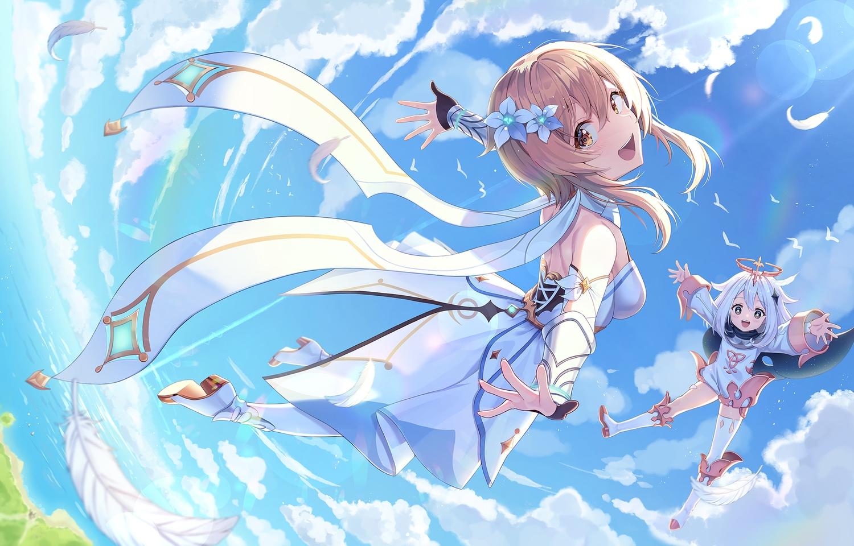 2girls brown_eyes brown_hair clouds dress feathers genshin_impact loli lumine_(genshin_impact) paimon_(genshin_impact) pine_(angel4195202) sky thighhighs white_hair