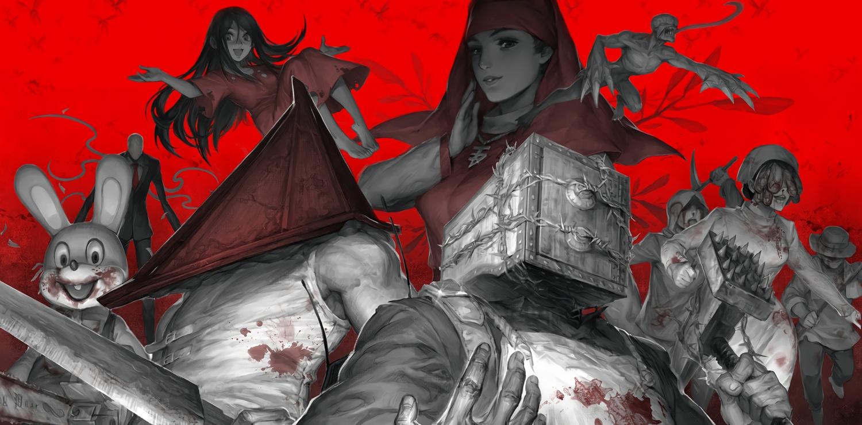 blood corpse_party creepypasta pyramid_head red resident_evil robbie_(silent_hill) shinozaki_sachiko silent_hill slenderman tagme_(character) the_evil_within the_keeper_(boxhead) waifu2x weapon yufy