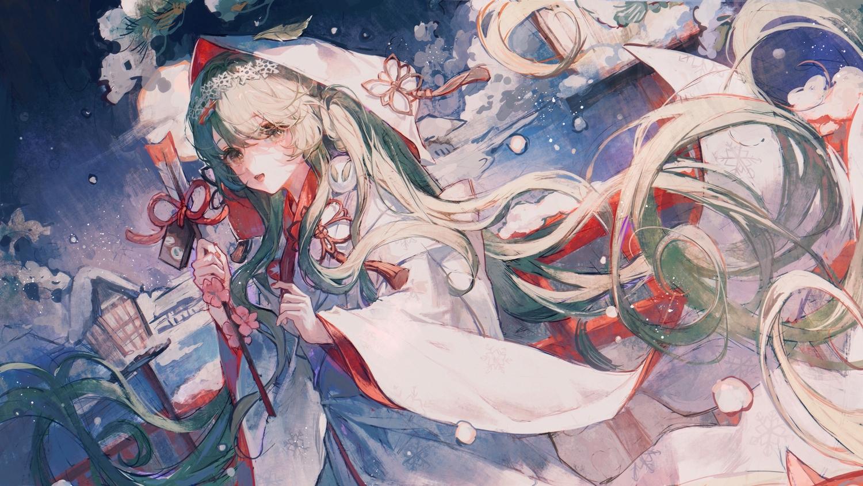 green_eyes green_hair hatsune_miku headband hoodie japanese_clothes kimono long_hair maccha_(mochancc) snow vocaloid wedding_attire yuki_miku