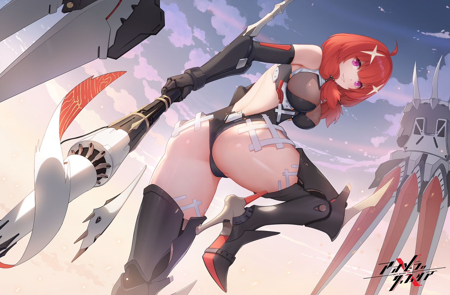 armor ass breasts cameltoe clouds elbow_gloves gloves leotard oo92248226 original purple_eyes red_hair sky spear twintails watermark weapon