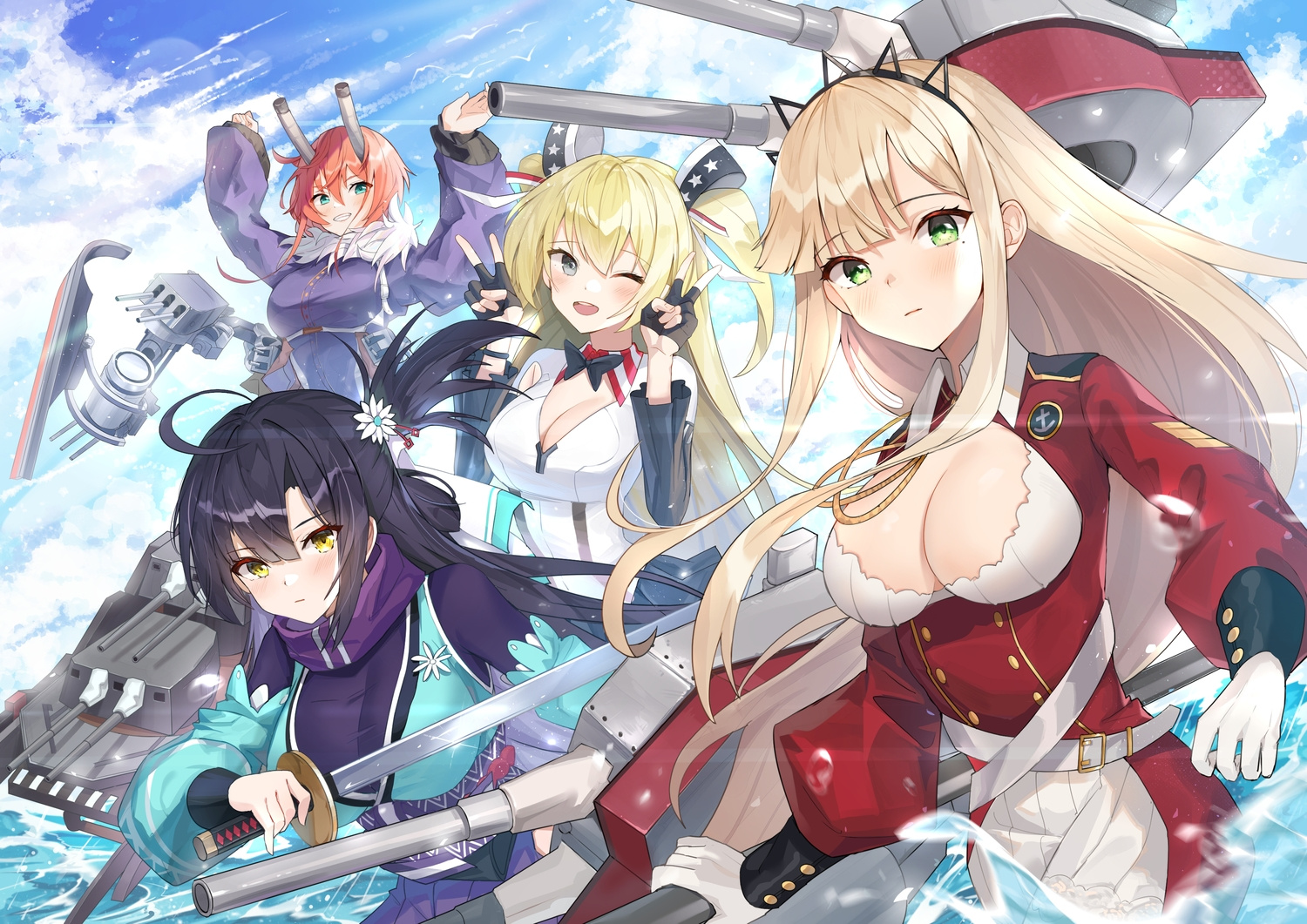 anthropomorphism blue_oath breasts cleavage cleveland_(blue_oath) dopoing group hood_(blue_oath) katana long_hair mechagirl sword tagme_(character) water weapon