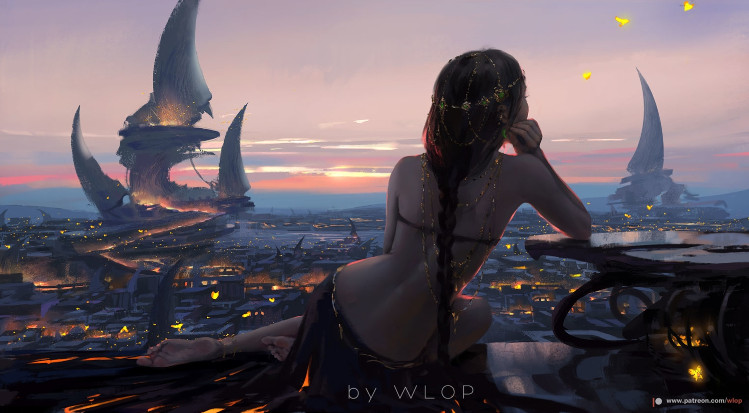 aeolian_(wlop) black_hair braids building butterfly city clouds ghostblade headdress landscape logo long_hair ponytail scenic skirt sky sunset watermark wlop