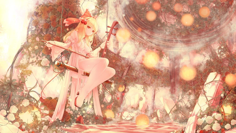 blonde_hair dress flowers headband instrument long_hair orange_eyes polychromatic rose satsuki_rin seelehan touhou water