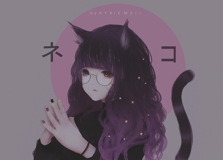 animal_ears bicolored_eyes catgirl glasses kyrie_meii long_hair original purple_hair tail watermark wristwear