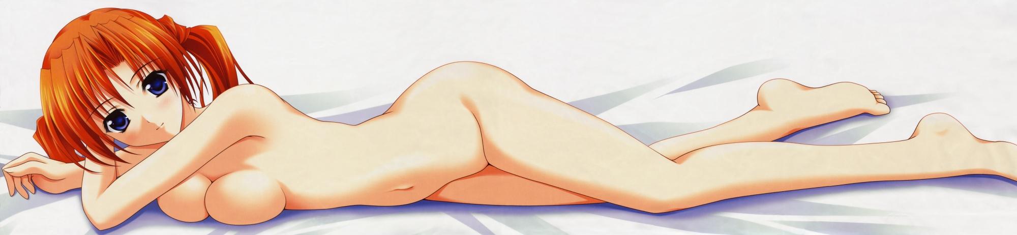 ass barefoot bed blue_eyes blush bow breasts cleavage minakami_sakuya navel no_bra nude orange_hair sister_princess topless twintails