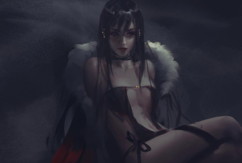 black_hair consort_yu_(fate) dark dress fate/grand_order fate_(series) long_hair navel no_bra realistic wlop