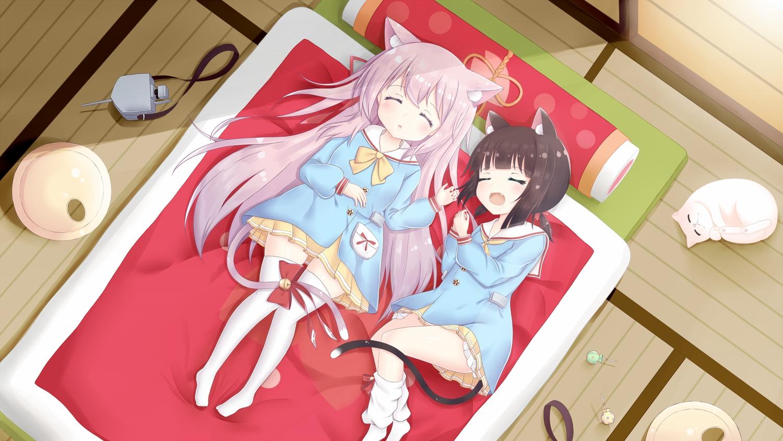 2girls animal_ears anthropomorphism azur_lane catgirl fang kisaragi_(azur_lane) loli minoshi mutsuki_(azur_lane) ribbons sleeping tail thighhighs