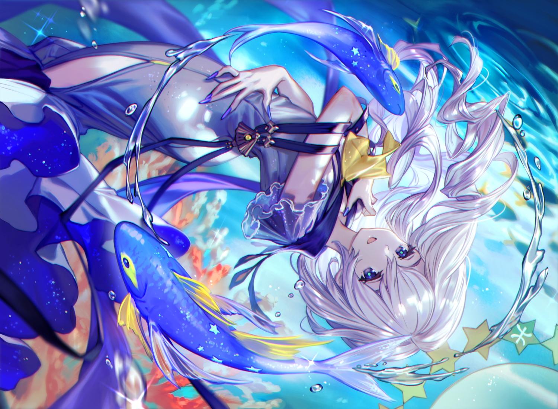 animal blue_eyes bubbles dress fish lee_hyeseung long_hair original ribbons underwater water white_hair