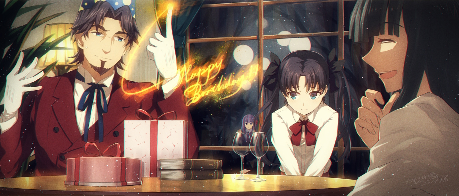 black_hair blue_eyes book bow fate_(series) fate/stay_night fate/zero gloves jugatsu_junichi long_hair magic male matou_sakura purple_hair signed suit tohsaka_aoi tohsaka_rin tohsaka_tokiomi twintails