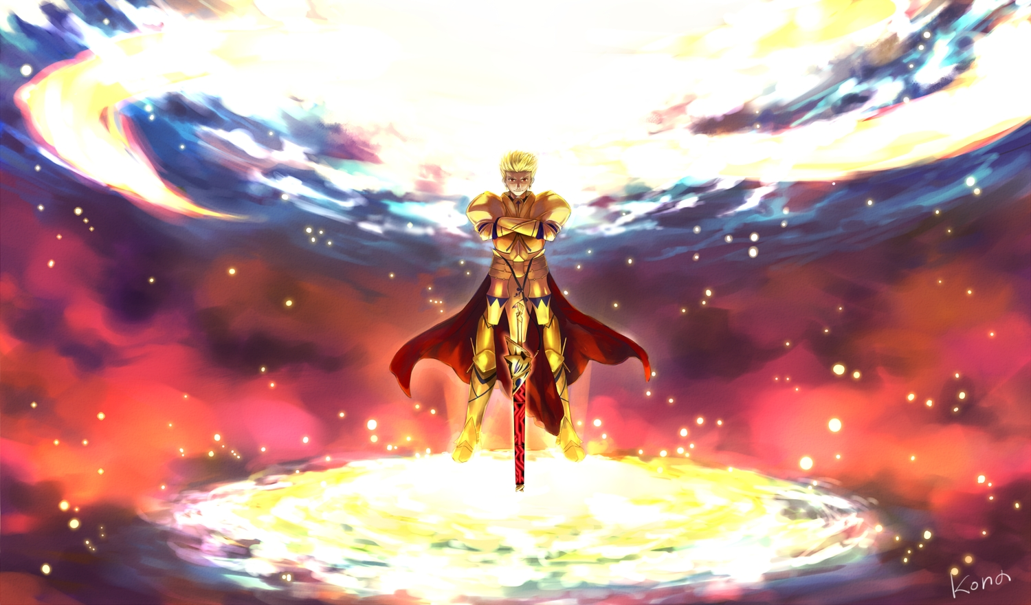 all_male armor fate/extra fate/grand_order fate_(series) gilgamesh kona_(mmm3608) male signed sword weapon