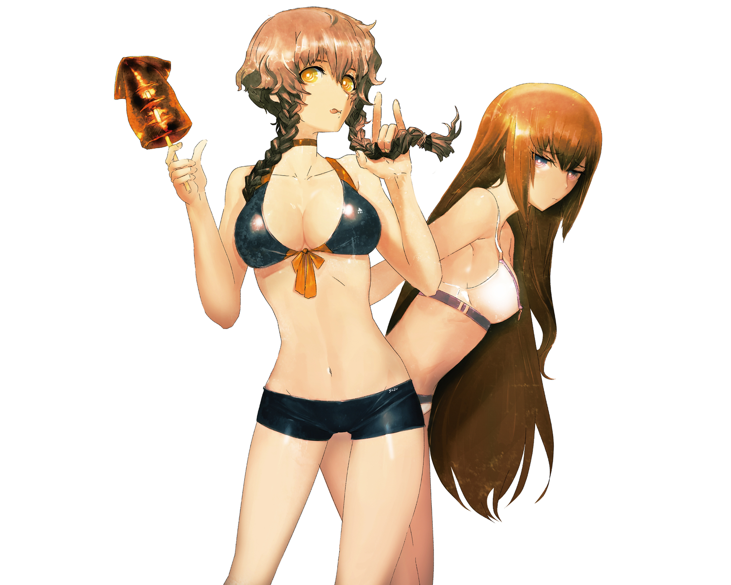 2girls amane_suzuha bikini brown_hair cleavage food huke makise_kurisu steins;gate swimsuit white