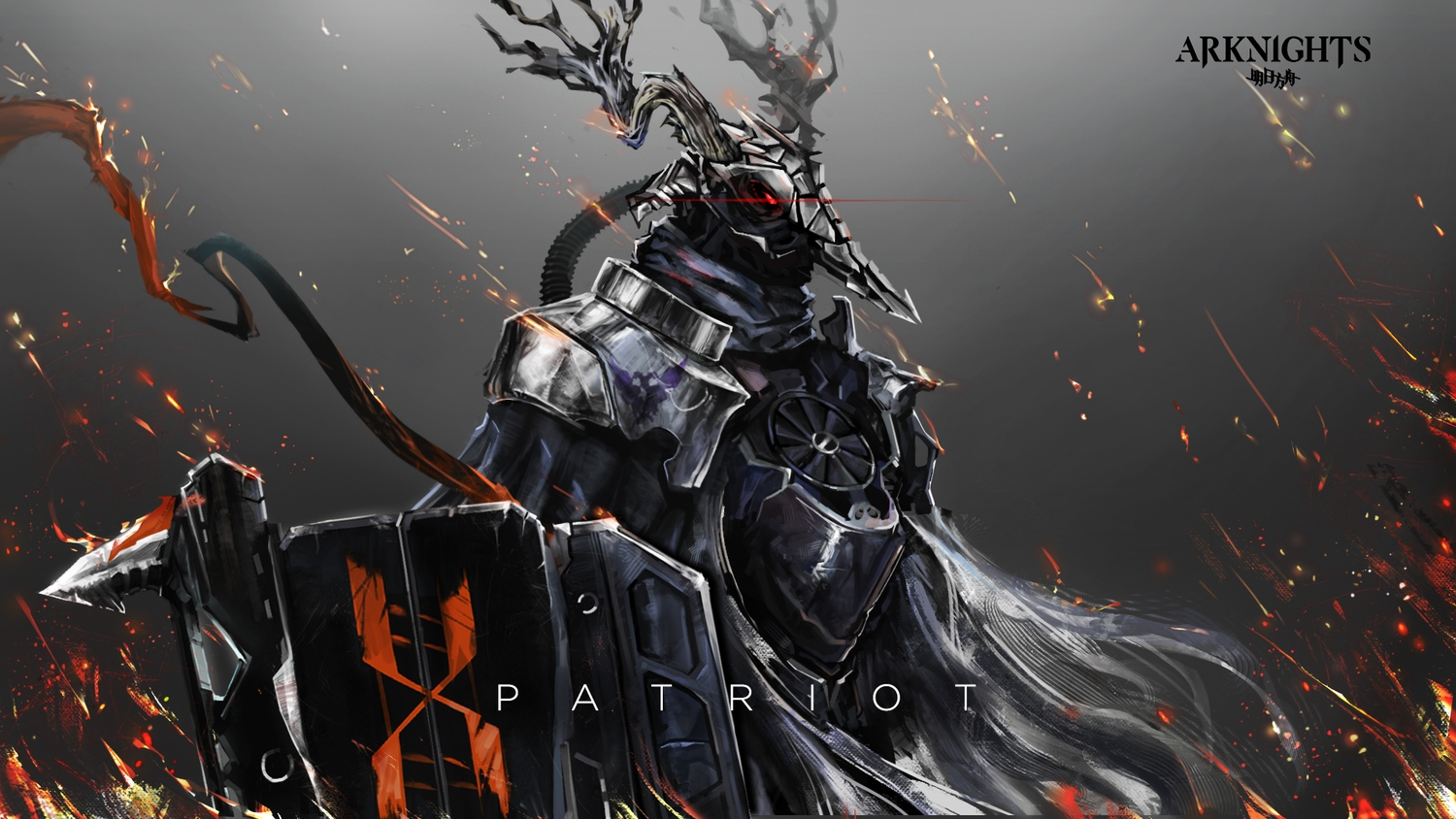 all_male arknights armor fire horns logo male patriot_(arknights) red_eyes spear tagme_(artist) weapon