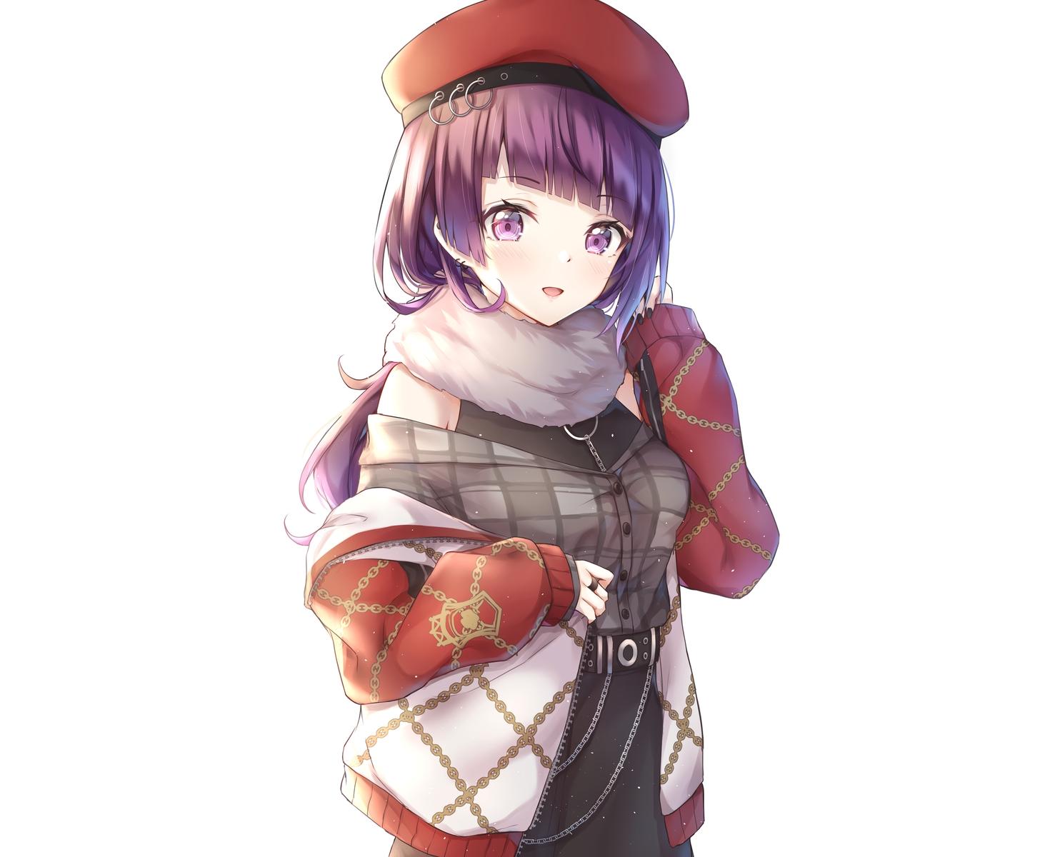 cuna_(qunya) garter_belt hat idolmaster idolmaster_shiny_colors long_hair purple_eyes purple_hair tanaka_mamimi third-party_edit white