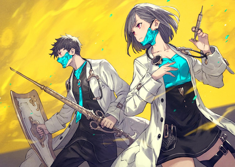 gray_hair kusano_shinta male mask original red_eyes short_hair skirt spear weapon yellow