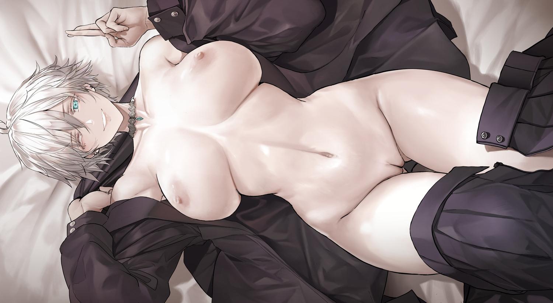 aqua_eyes breasts choker dishwasher1910 genderswap gojou_satoru gray_hair jujutsu_kaisen navel nipples no_bra nopan open_shirt polychromatic pussy short_hair uncensored undressing wink