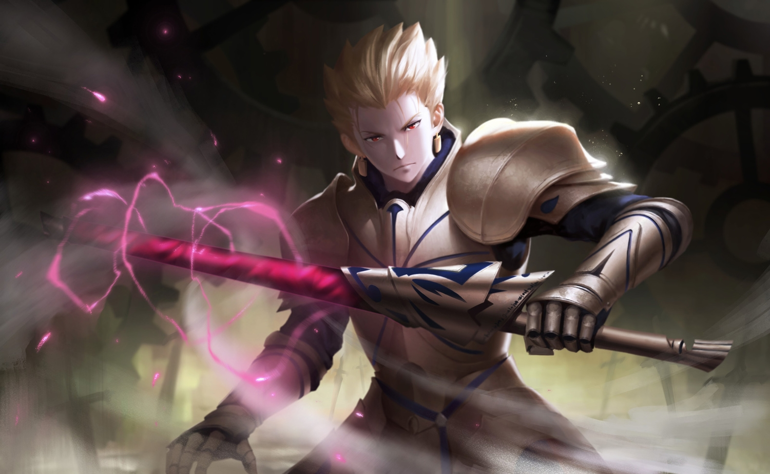 all_male armor blonde_hair cangkong fate_(series) fate/stay_night gilgamesh magic male night red_eyes short_hair weapon