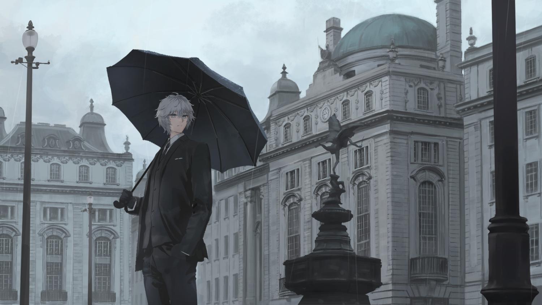 all_male building gray_eyes gray_hair male original polychromatic rain umbrella wasabi60 water