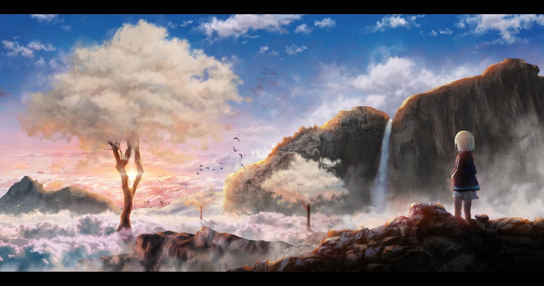 akky_(akimi1127) animal bird blonde_hair clouds hoodie landscape original scenic short_hair skirt sky tree water waterfall