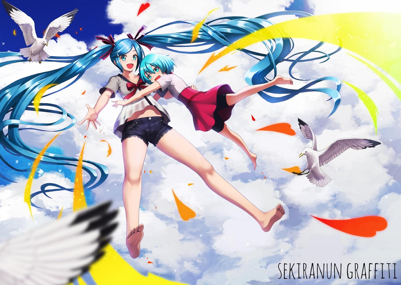 2girls animal aqua_hair bike_shorts bird blue_hair clouds defiaz_(infinity) hatsune_miku loli long_hair sekiranun_graffiti_(vocaloid) short_hair shorts sky twintails vocaloid