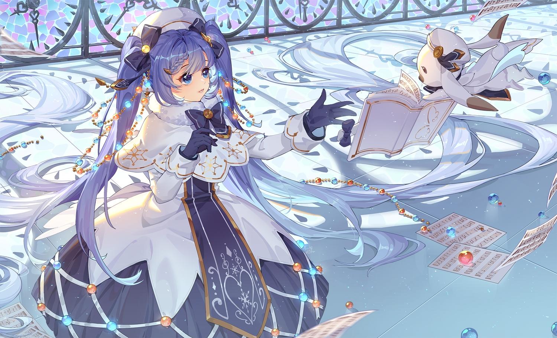 animal aqua_eyes blue_hair book bow dress gloves hat hatsune_miku kan_(rainconan) paper rabbit twintails vocaloid yuki_miku yukine_(vocaloid)