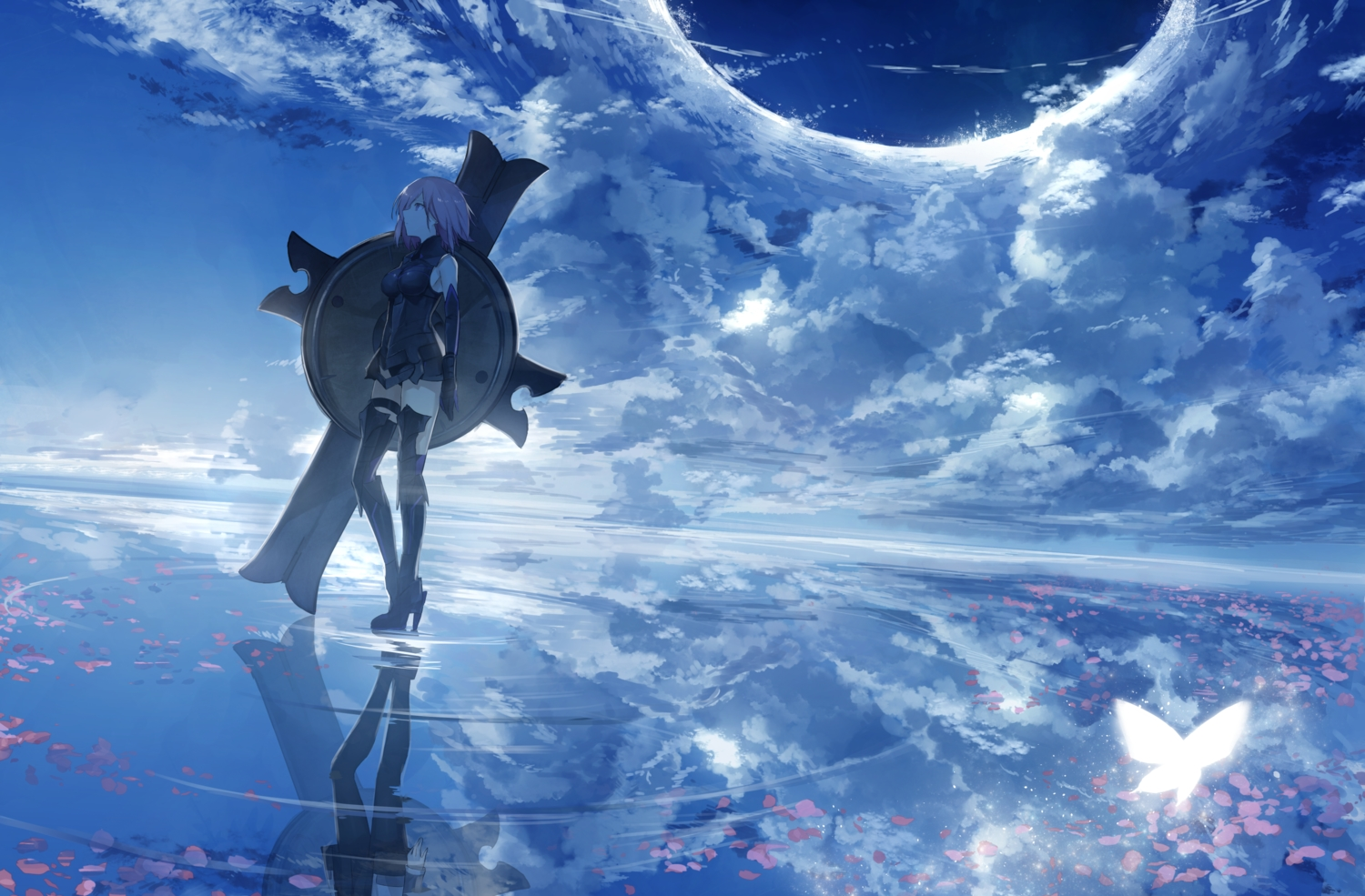 bodysuit breasts clouds fate/grand_order fate_(series) mash_kyrielight purple_eyes purple_hair reflection short_hair skintight sky thkani water