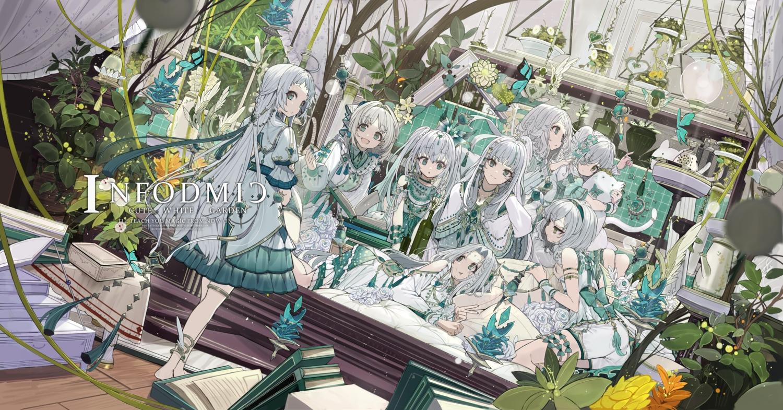 book butterfly dress gray_hair green_eyes group lolita_fashion long_hair original touzai_(poppin_phl95)