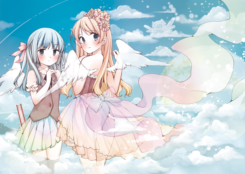 2girls angel blonde_hair blue_eyes blue_hair blush clouds dress flowers gray_eyes headdress long_hair nopan original ribbons see_through sky tagme_(artist) thighhighs wings
