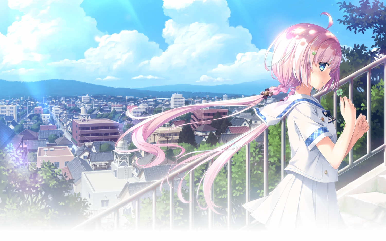 aqua_eyes blush braids building city clouds hoshina_harune hulotte kokoro_no_katachi_to_iro_to_oto landscape long_hair pink_hair scenic school_uniform skirt sky stairs tagme_(artist) twintails