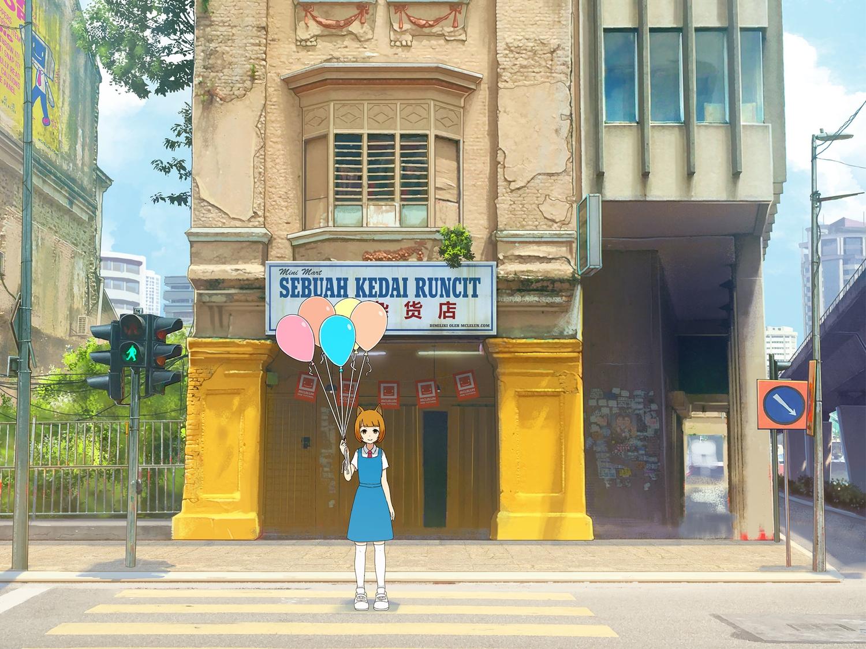 animal_ears building city clouds dress mclelun orange_eyes orange_hair original scenic school_uniform short_hair sky thighhighs watermark