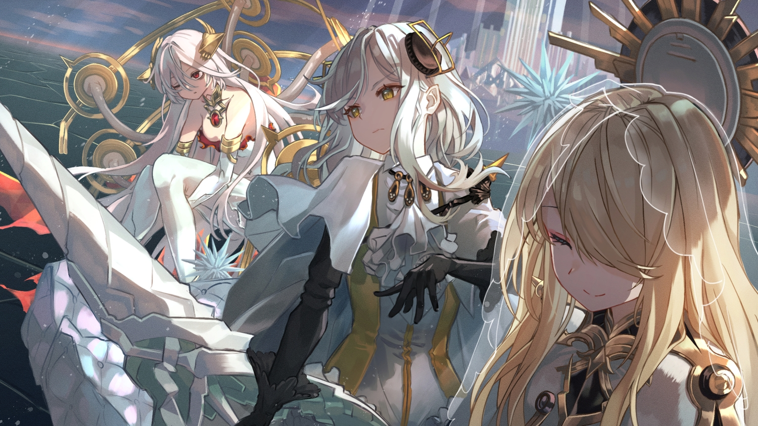 alchemy_stars blonde_hair carleen_(alchemy_stars) clouds gray_hair long_hair red_eyes roco_(rocoroco1115) sky spear tagme_(character) uriel_(alchemy_stars) weapon white_hair wink yellow_eyes
