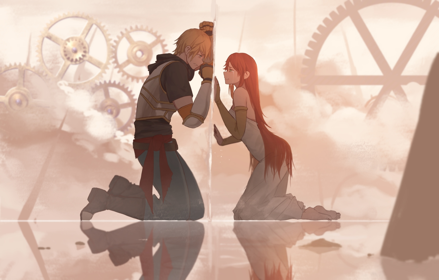 armor barefoot blonde_hair boots clouds crying dishwasher1910 elbow_gloves gloves green_eyes hoodie industrial jaune_arc long_hair male pyrrha_nikos red_eyes reflection rwby short_hair tears
