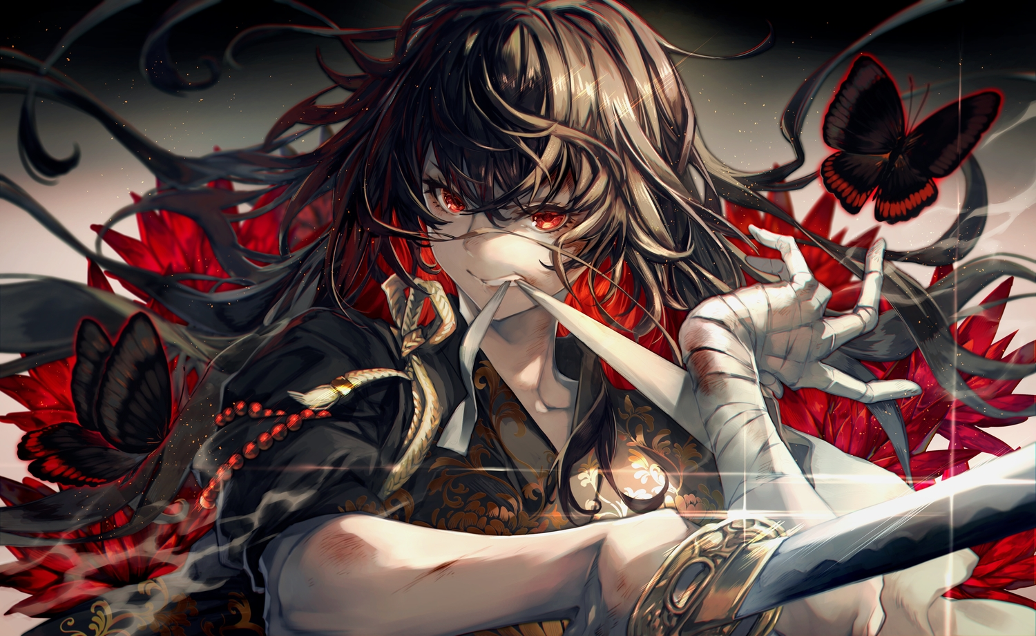 all_male bandage black_hair butterfly close gray_hair japanese_clothes katana long_hair male mito_itsuki original red_eyes sword weapon