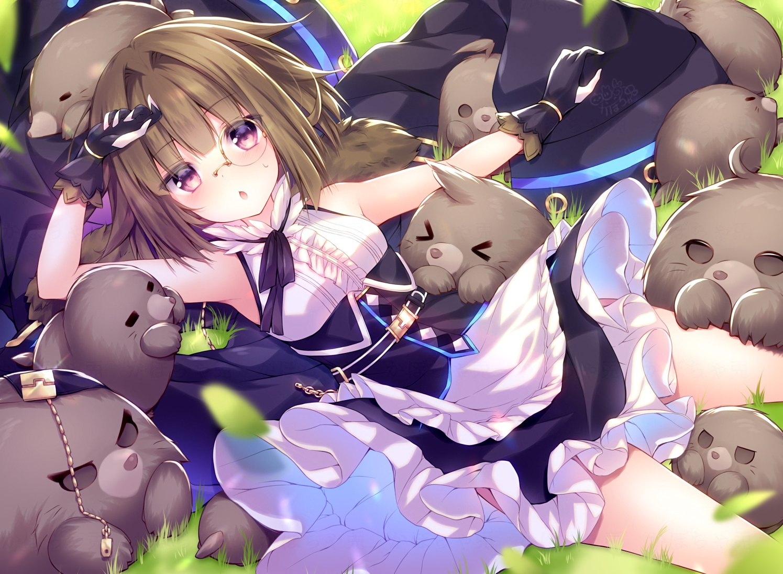 animal apron blush brown_hair dress glasses gloves grass kabocha_usagi purple_eyes red:_pride_of_eden tagme_(character) waifu2x