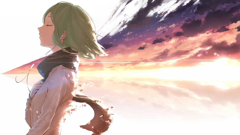 clouds green_hair gumi headphones minamito scarf short_hair vocaloid